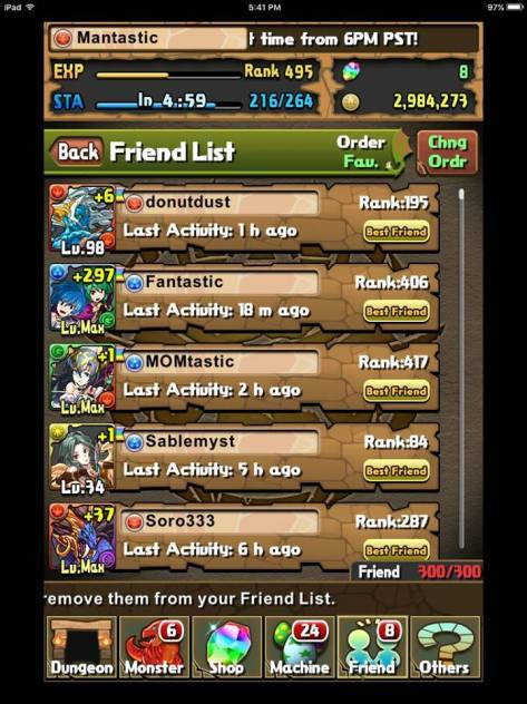 Updated Friend list