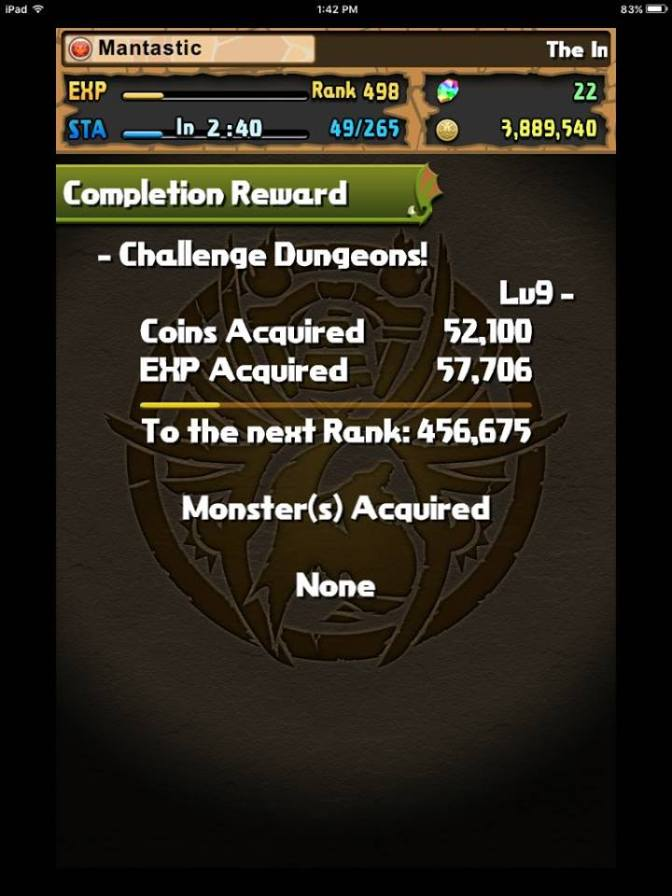 Challenge Dungeon 19 – Level 9 Cleared