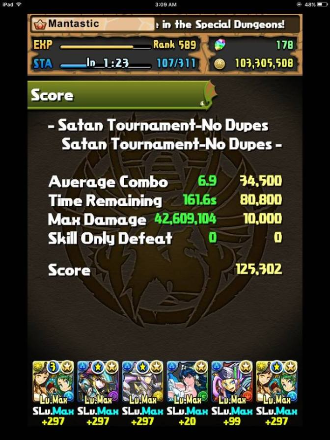 [Video] Satan Ranking Tournament 125,302 Score