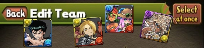 Team Building for Puzzle and Dragons in 2018 with Yusuke, Beach Barbara & Julie, Dark Metatron, & Edward